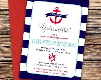 Nautical Baby Shower Invitation, Anchors Aweigh, Cute Nautical Anchors Away PRINTABLE or Printed Invitations