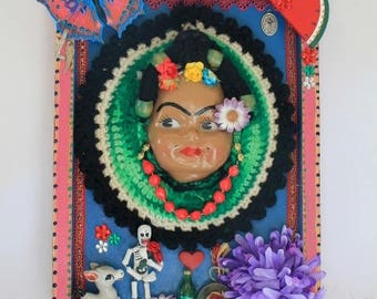 Large OOAK Frida Kahlo Doll themed artwork shrine shadow box/ Mexican Mexico Folk art Original