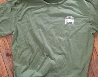 Medium 80 series blueprint  shirt  army green adult  Land Cruiser