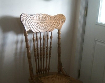 Vintage Victorian Oak Press Back Chair Shabby Chic