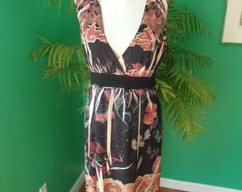 Mushka by Sienna Rose Asian Flower Print Sleeveless A-Line Dress Sz M