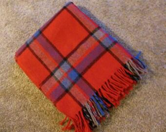 Gorgeous RED Plaid  Wool Blanket, Throw Blanket, Grey, Black Blanket
