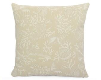 Sunbrella Beach Cornber Indoor/Outdoor Cushion Cover, Tan and Cream Patio Pillow Cover, Coastal Accent Toss Pillow, Square or Lumbar