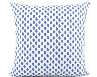 Sahara Cobalt Blue and White Dot Decorative Pillow Cover, 18x18, 20x20, 22x22, Eurosham, Lumbar Throw Pillow, Accent Pillow, Lacefield