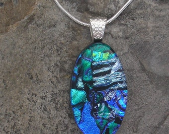 Blue Green Dichroic Necklace Fused Glass Pendant Blue Dichroic Jewelry