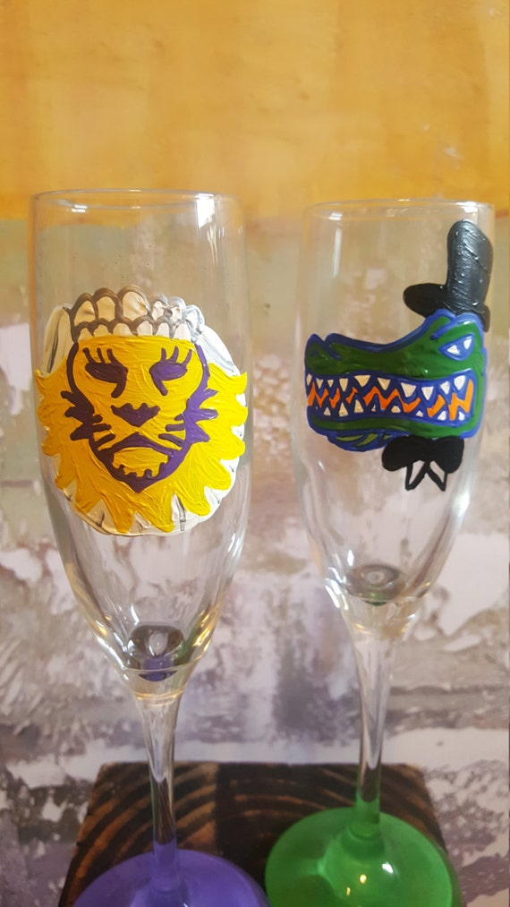 House Divided College Wedding Glasses Florida Gators vs Orlando City Lions