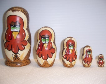 Hand painted Turkeys Collection stacking nesting doll set