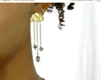 20% off. Rain cloud earrings.  English Rain. Gold cloud earrings.  stud post earrings. Chandelier cloud earrings in gold or silver