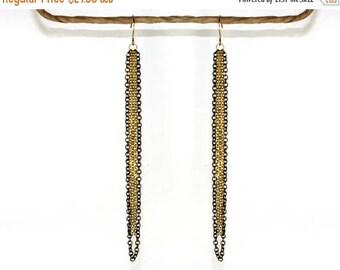 20% off. Long tassel earrings. Black & gold chain earrings 18k gold plated jewelry, long gold earrings