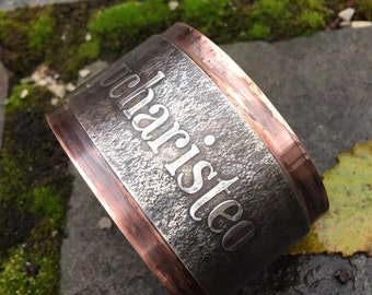 Wide Copper and Pewter Cuff, Eucharisteo Cuff, Give Thanks