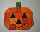 Halloween Pumpkin Quilted cotton Mug Rug, Drink coasters, Mini placemats, mug mat, Orange JackoLantern