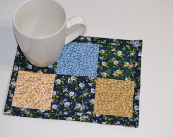Quilted Mug Rug, Mini Placemat, Cotton Coaster, Little house on the prairie fabric