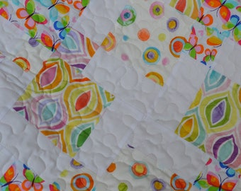 Pastel Baby Quilt, Patchwork Baby Blanket, Toddler Quilt, Baby Girl Blanket