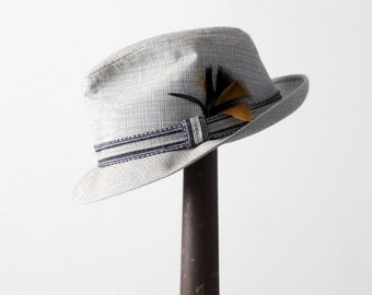 vintage fedora, herringbone trilby hat with feather