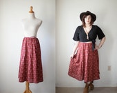Vintage Canyon Skirt // Rust Southwestern Print Cotton Drawstring Midi Skirt // Vintage womens clothing