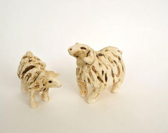 Ceramic Sheep ~ Mother and Baby, Set of Two