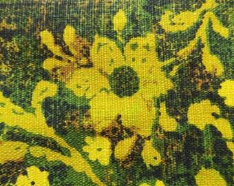 """1960s-70s baroque yellow and green """"original"""" silkcreened barkcloth remnant / avocado / 70s / Boho"""