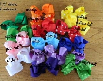 10  4 inch wide  Grosgrain Boutique Bows,Chevron, Dots &Solids,You choose your favorite colors, Great for Spring,