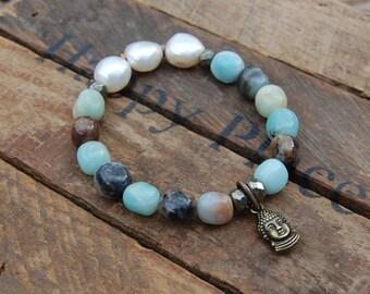 Amazonite & Fresh Water Pearl Charm Bracelet