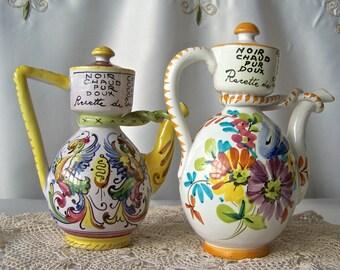Vintage Pottery Cruet Set Italian Kitchen Containers Hand Painted Condiment Pitchers Vintage 1950s