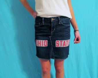 Ohio State Buckeyes Dress Vintage Denim Mini skirt repurposed jeans GameDay Apparel Love My Game Dress