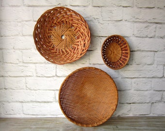 Vintage Basket Collection Three baskets Wall Hanging Gallery Wall Decor