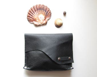 Black leather clutch // Raw Edge leather bag