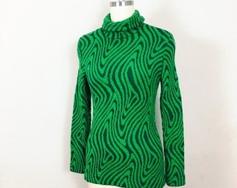 Poison Ivy 1960's Beatnik Catalina Green Psychedelic Swirl Wool Turtleneck Sweater~  Size small ~ Vintage 60's MOD