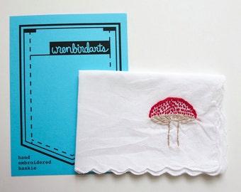 Red White Mushroom Art Mushroom Embroidered Handkerchief Nature Embroidery Mushroom Accessory Book Love Gift