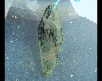 Nugget Green Kyanite Gemstone Pendant Bead,39x14x2mm,2.69g(e0444)