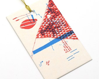 letterpress gift tag / triangles and things / upcycled calendar / tag / swing tag / gift giving / single tag / letterpress print