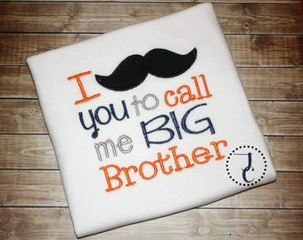 Big Brother Shirt, Big Brother tshirt, Big Brother Announcement, Big Brother Gift, Sibling Outfits, Mustache Big Brother, Big Brother Little