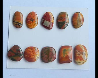 10 PCS  Natural Multi-Color Picasso Jasper Cabochons,22g