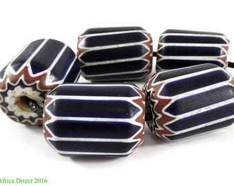 5 Chevron Venetian Trade Beads Six Layer Africa 29mm 107048