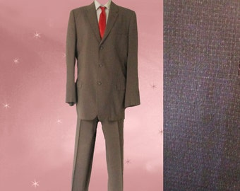 Mens 50s Full Suit, Mens Spring Suit, Mens Summer Suit, Mens 50s Dress Suit, Taupe Suit for Men, Windowpane Check, 40 Long, Jacket and Pants