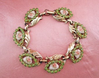 Summer Flower Bracelet is OOAK Handmade with Vintage, Wife Jewelry Idea with Peridot Rhinestones, Hearts and Flowers in Gift Box