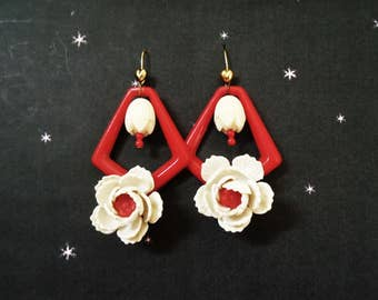 Flower Statement Earrings - Big Flower Dangles  - One of a Kind Hand Made with Vintage Celluloid Flowers - Flower Drop Earrings in Gift Box