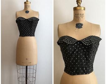 1950s Strapless Sun Top 50s Bustier Black Sequins