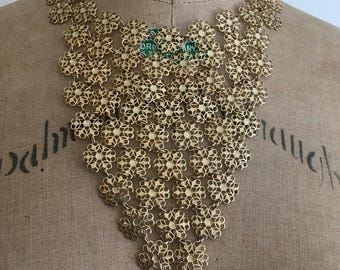 1960s Necklace Bib Runway Gold Huge Statement 60s Vendome Snowflakes