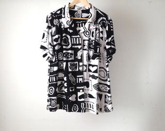 keith HARING style wild long button up down top bright vintage shirt