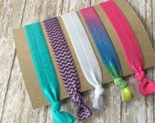 New Year Clearance Sale-One Dollar-Set of Five Elastic Hair Ties-No Pull-Ready to Ship