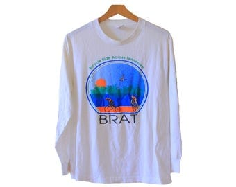 Vintage 80s Bicycle Tshirt BRAT Bicycle Ride Across Tennessee Long Sleeve Size Medium