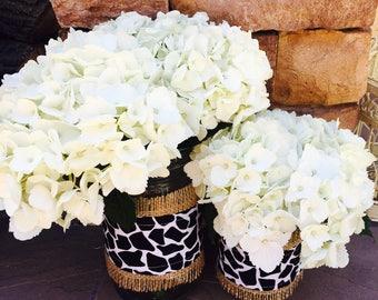 Mason Jar Wrap, Giraffe, Black & White, Mason Jar Decoration, Baby Shower, Party, Wedding Decoration