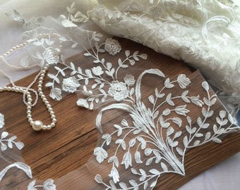 Bridal Wedding Lace Applique Ivory Floral Embroidered Lace Applique Exquisite Wedding Dress Bridal Veil Applique