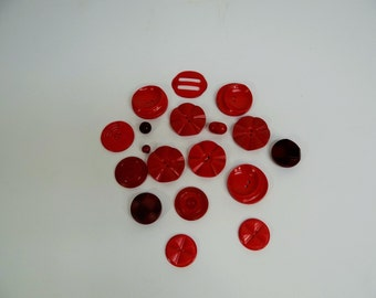 Large Lot of Vintage Red Buttons