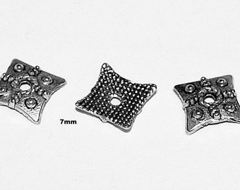 12 pcs 7mm Square Antique Silver Bead Caps with Rope Design and Bumps