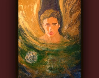 Angel - Original Large Painting on 36 x 24 Stretched Canvas