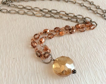 Czech Crystal Pendant Necklace, long peach silver vintage beaded beads statement assemblage fashion rosary chain gift gifts