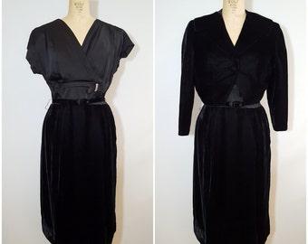 Vintage 1950s Black Velvet and Satin Dress and Jacket / Formal Dress / Medium