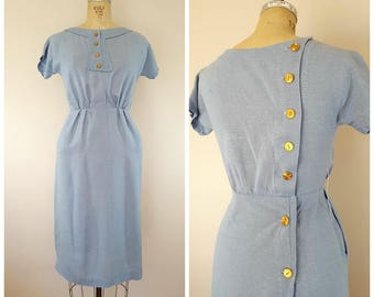 Vintage 1960s Dress / Baby Blue Linen Dress / Fitted Wiggle Dress / Back Buttons / Small